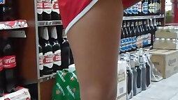 Teen girl peek up skirt so that their corpulent ass in jeans
