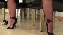 Busty mature stocking solo show