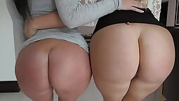 Buttfucked sluts share cock in orgy