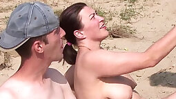 Amateur foursome party with pretty beach creampie