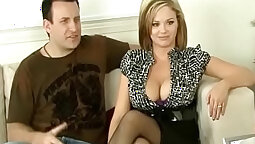 Blonde is getting her oversized junkies caressed well while sucking a cuckold