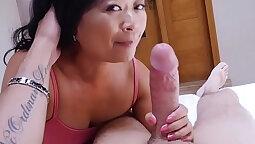 Stepmom cockriding asian mature