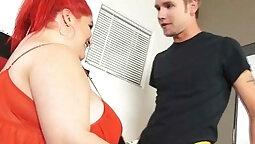 BBW Big Tits Wife Fucks Young Stud
