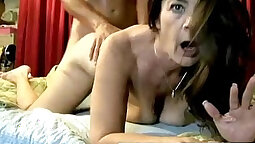Hot cougar tastes first cock creampied