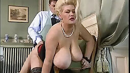 Busty shaking soapy blonde chubby masseuse
