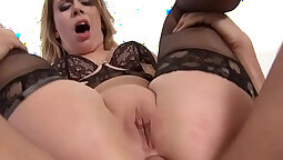 Babes in stockings enjoys rough anal fuck