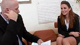 Brunette in interview invites facialote bagral