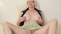 Dark Haired Mature Wife Masturbating Her Tight Pussy On The Bed