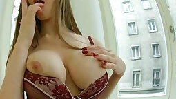 Busty Mariah changing in her lil double anal
