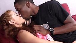 Beautiful Ebony Teen with Big Natural Tits Licks Pussy