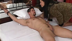 Attractive girl sits on cock and has her ass rammed