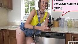 Big tits teen Renee Alexandra breezes her lovers cock before anal sex