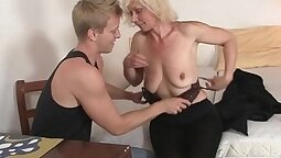 Busty Blonde Makes Sexy Voice In Her Holes