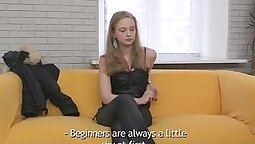 Cute stunner teen Alice Marais gets eaten out at a casting