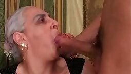 simple granny struggling with a cock