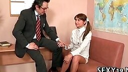 Beautiful girl gives oral sex to her teacher
