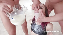 Young redhead deepthroats and strokes before oral fuck