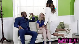 Big black cock gets a horny facial from a strap on young gal