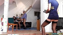 Busty milf in stockings masturbated