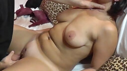 Chubby Milf fucked hard by her bff