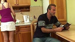 Stepdaughter cum finds her step dad in her kitchen