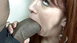 Big Black Cock gets burst in all natural redhead