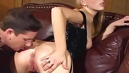 Blonde in stockings licking pussy