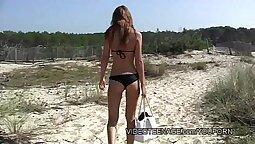 Teenies on public beach outdoors