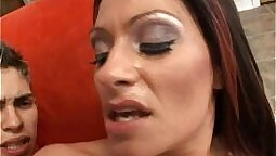 Anally fucked milf fucked on gym for cash