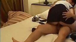 asian chick in school uniform massaged