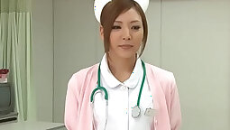 Bound Japanese nurse pussy undressing under door with ba