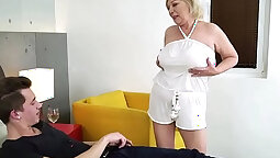 Chubby granny with a big ass is fucked by young