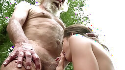 18 year old babe swallows a stud
