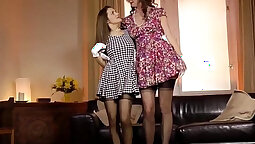 Glamour milf Rihanna orgy with two her in stockings