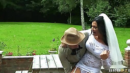 Brunette big tits spun by step brother