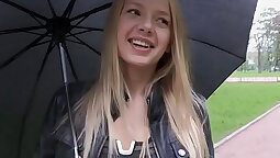 Adorable teen at the casting on the floor