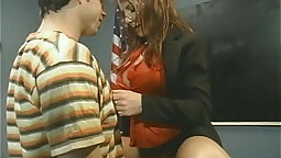 Redhead teacher gets a facial from her students